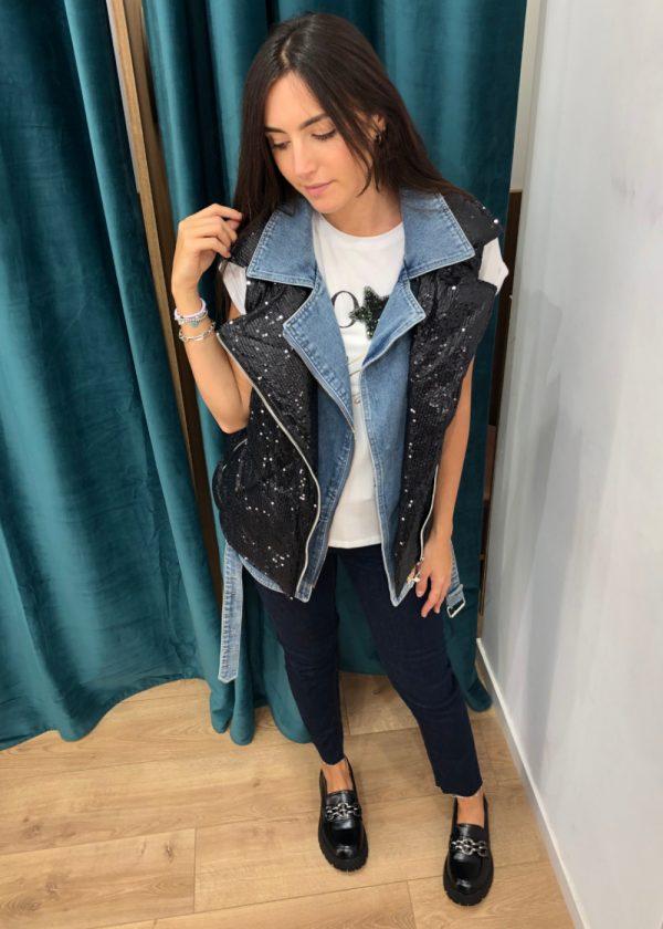 Mako Fashion gilet jeans piumino